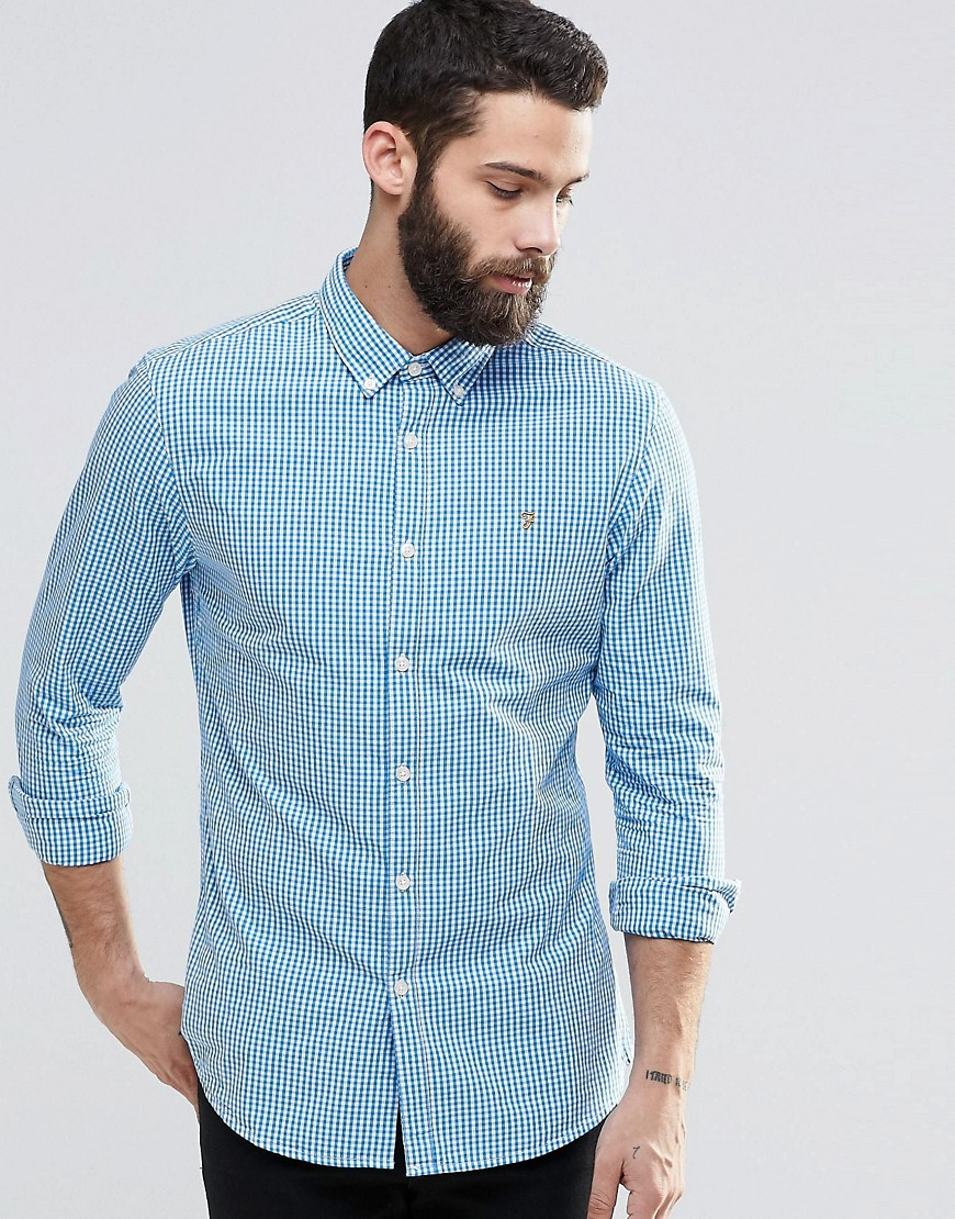 Farah Shirt With Gingham Check Slim Fit In Blue For Men Lyst