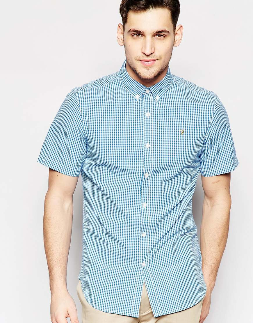 Farah shirt with gingham check slim fit short sleeves in for Slim fit gingham check shirt