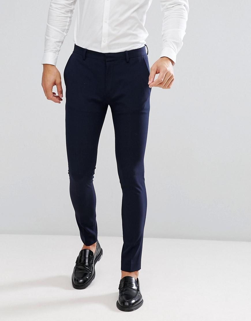 8cf5633eabd7 ASOS Super Skinny Fit Suit Trousers In Navy in Blue for Men - Lyst