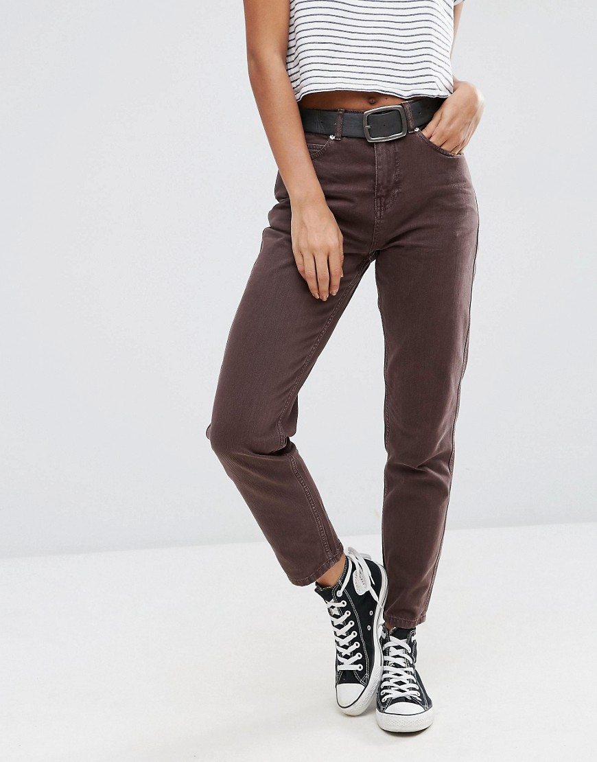 asos original mom jeans in choco wash in brown lyst. Black Bedroom Furniture Sets. Home Design Ideas