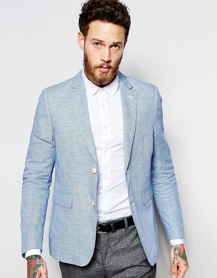 Lyst - Féraud Premium 55% Linen Blazer in Blue for Men