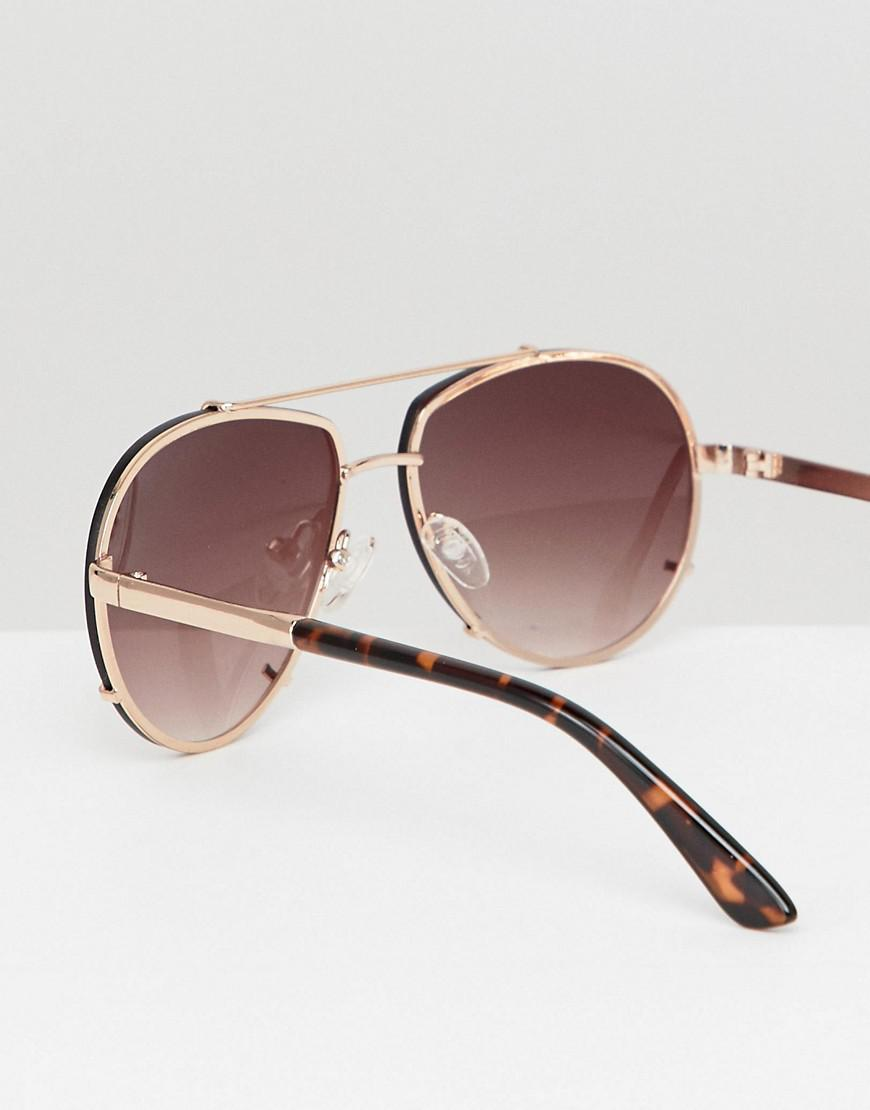 ba86f5812b Lyst - ASOS Angled Aviator With Gold Metal With Laid On Lens in Metallic  for Men