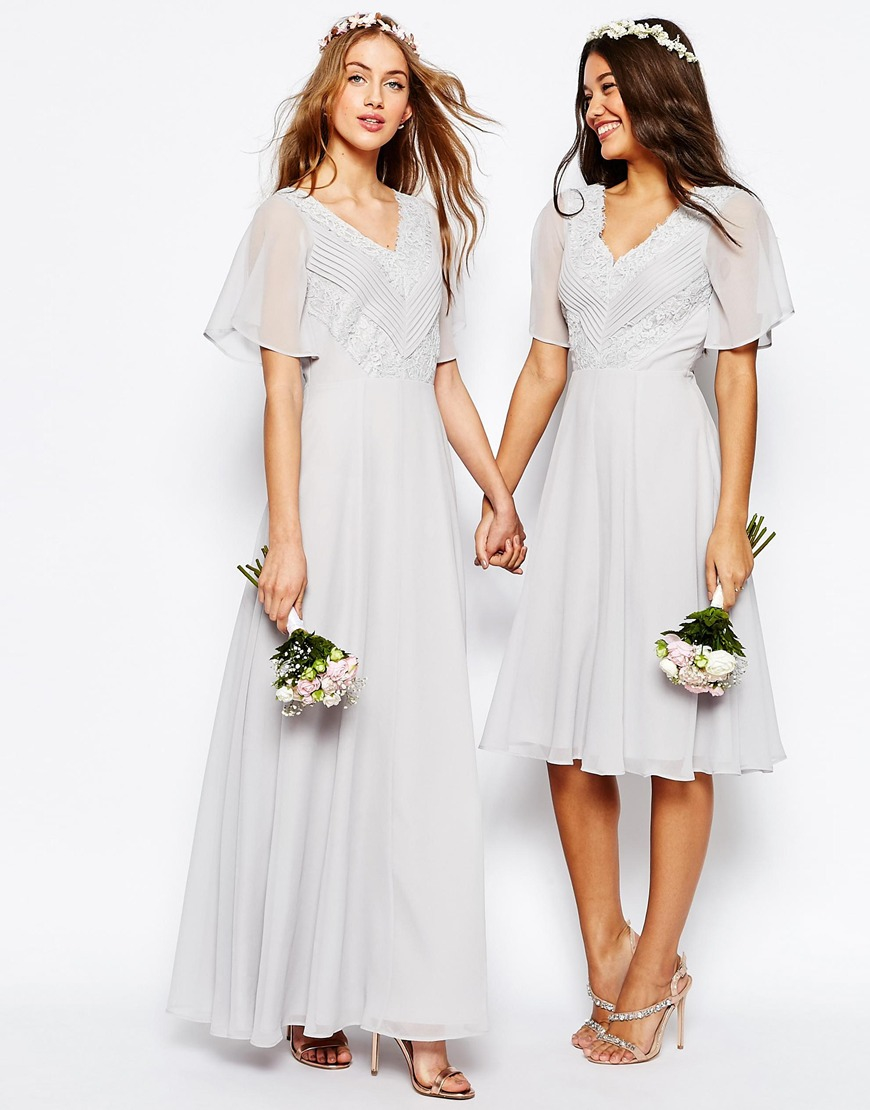 29e80443cd435 ASOS Wedding Lace And Pleat Maxi Dress in Gray - Lyst