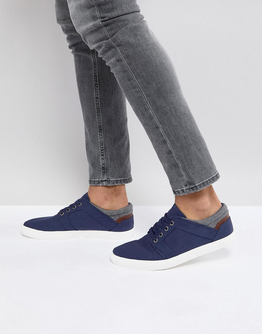 ASOS Wide Fit Lace Up Plimsolls In Navy Faux Suede With Warm Handle Cuff outlet 2014 new clearance store sale online O5tbsy