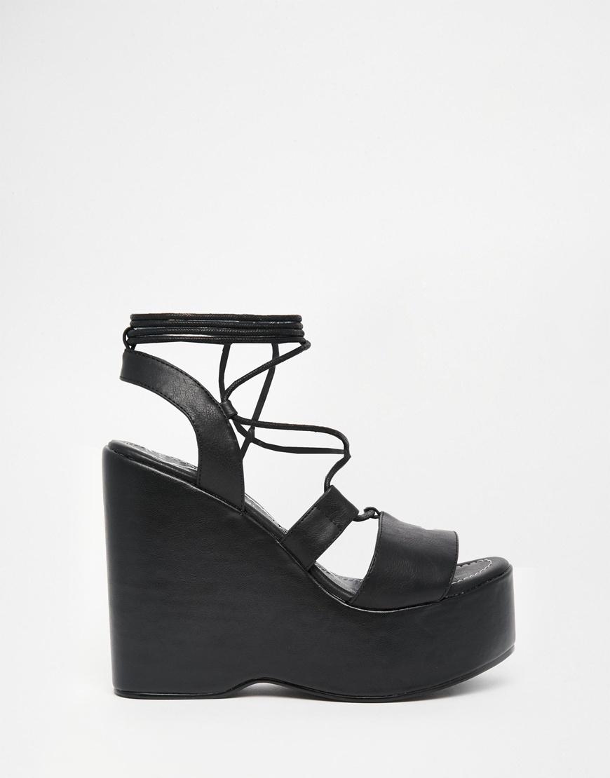 dcbdee26339 Lyst - Truffle Collection Calla Tie Up Wedge Platform Sandals in Black