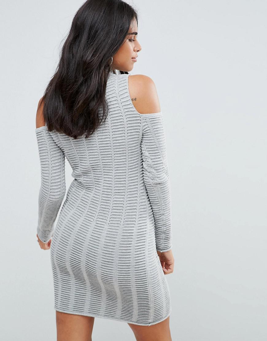 6ebfb5c6937 French Connection Mozart Ladder Knit Cold Shoulder Dress in Gray - Lyst