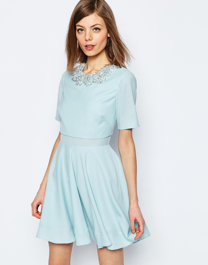 0bd9ab91e5ac22 Lyst - ASOS Embellished Cluster Crop Top Mini Dress in Blue