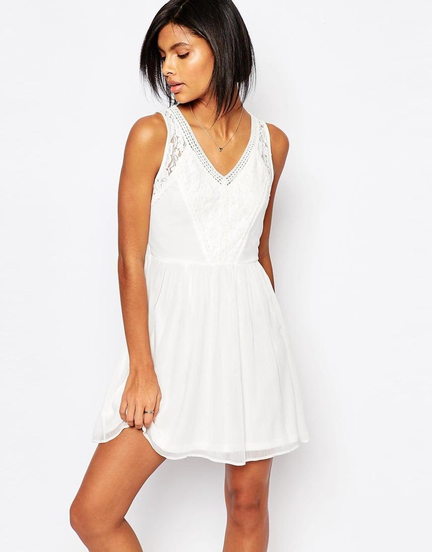 vero moda lace skater dress in white lyst. Black Bedroom Furniture Sets. Home Design Ideas