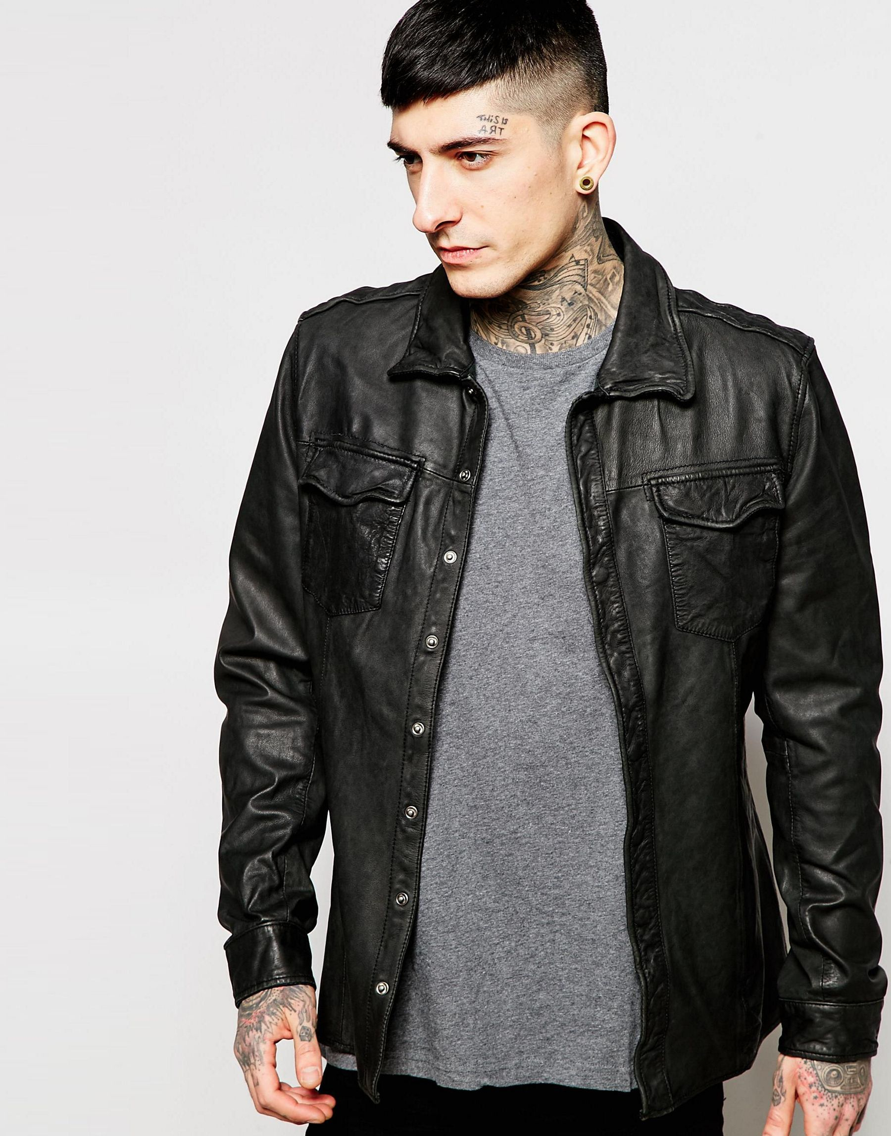 Goosecraft Leather Overshirt In Black For Men Lyst Jaket Kulit Bikers Style Gallery