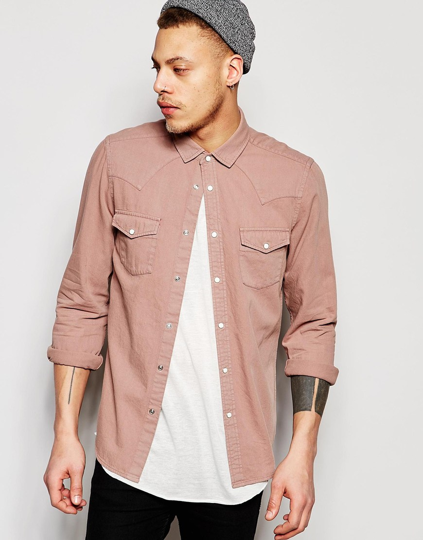Asos Regular Fit Western Denim Shirt In Dusty Pink in Pink for Men ...