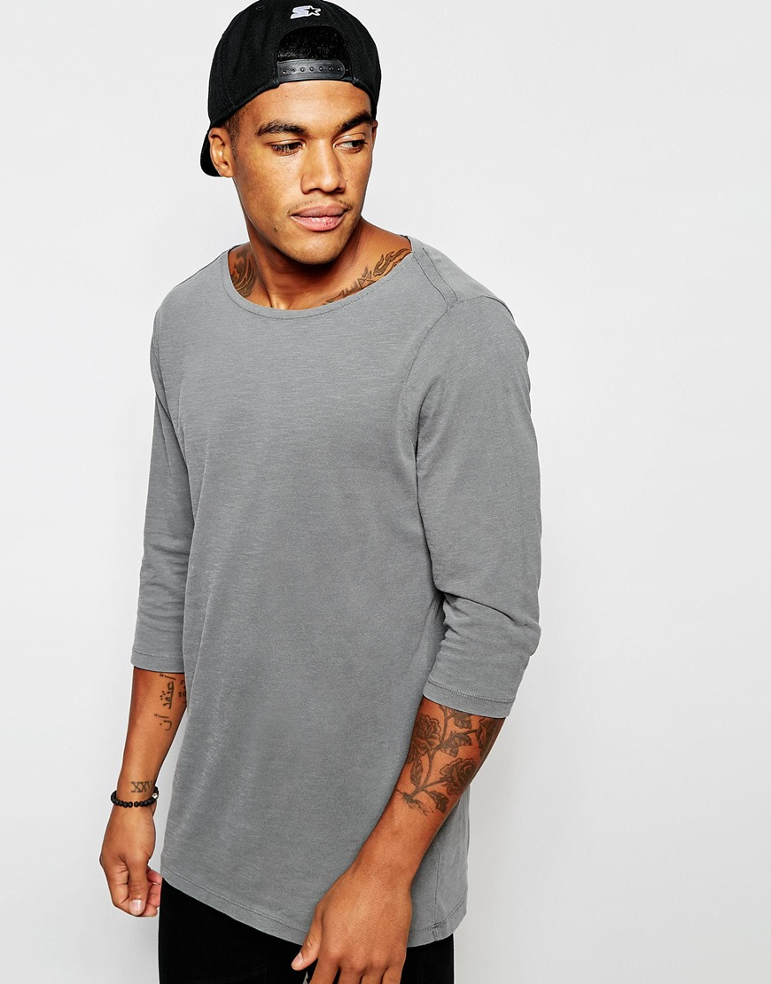 Asos Relaxed Slub Longline 3 4 Sleeve T Shirt With Boat