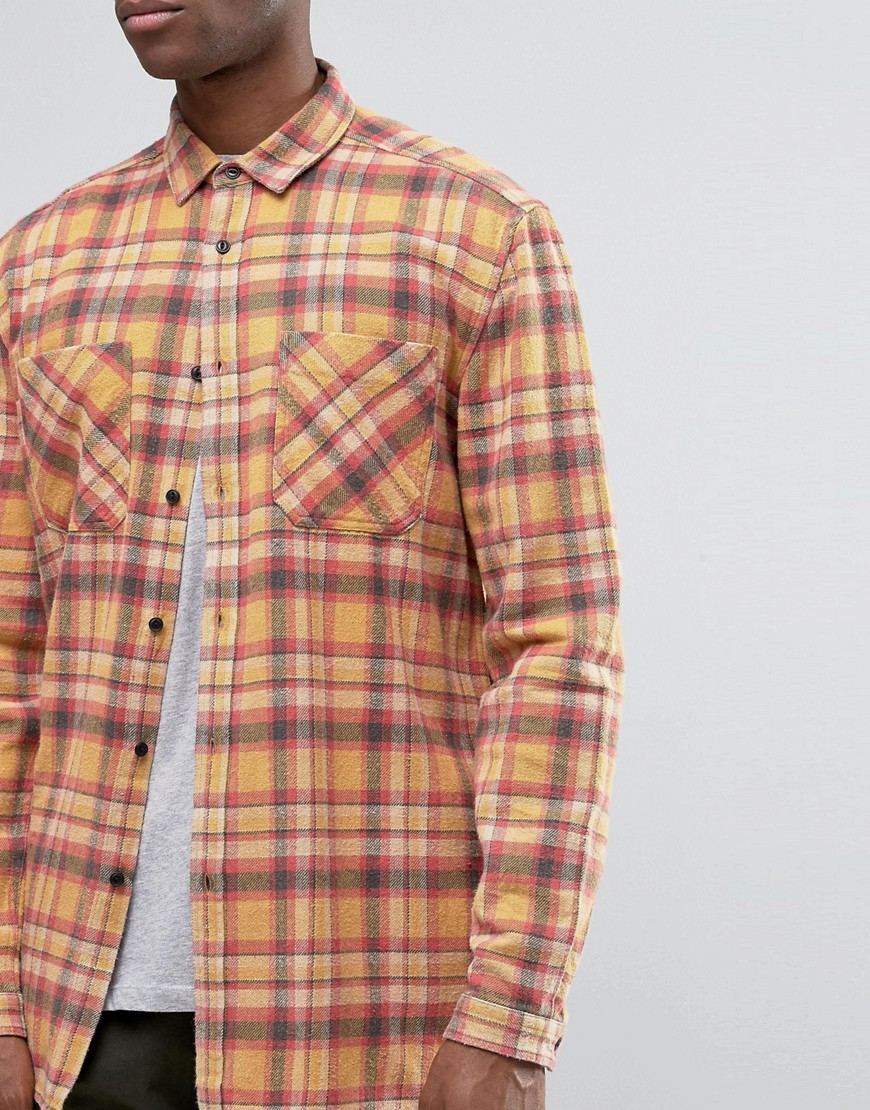 Lyst Asos Oversized Check Shirt In Orange In Orange For Men