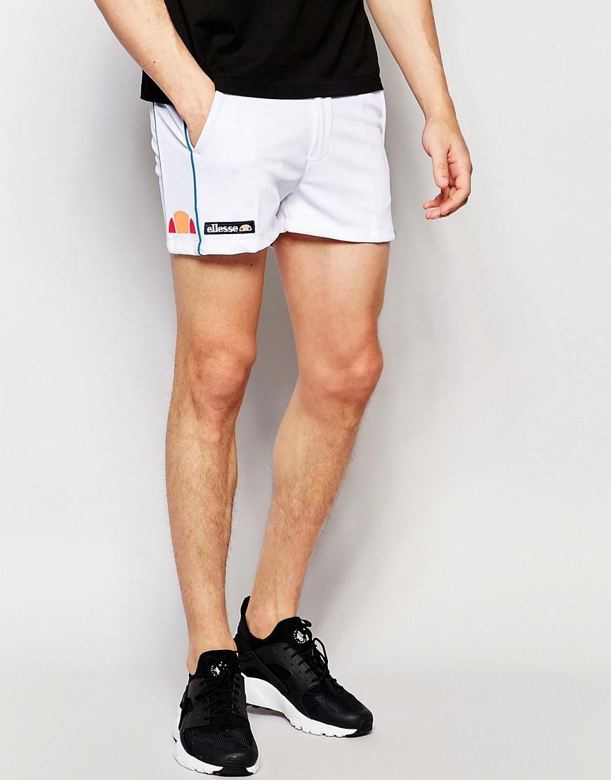 ellesse l s retro shorts white in white for men lyst. Black Bedroom Furniture Sets. Home Design Ideas