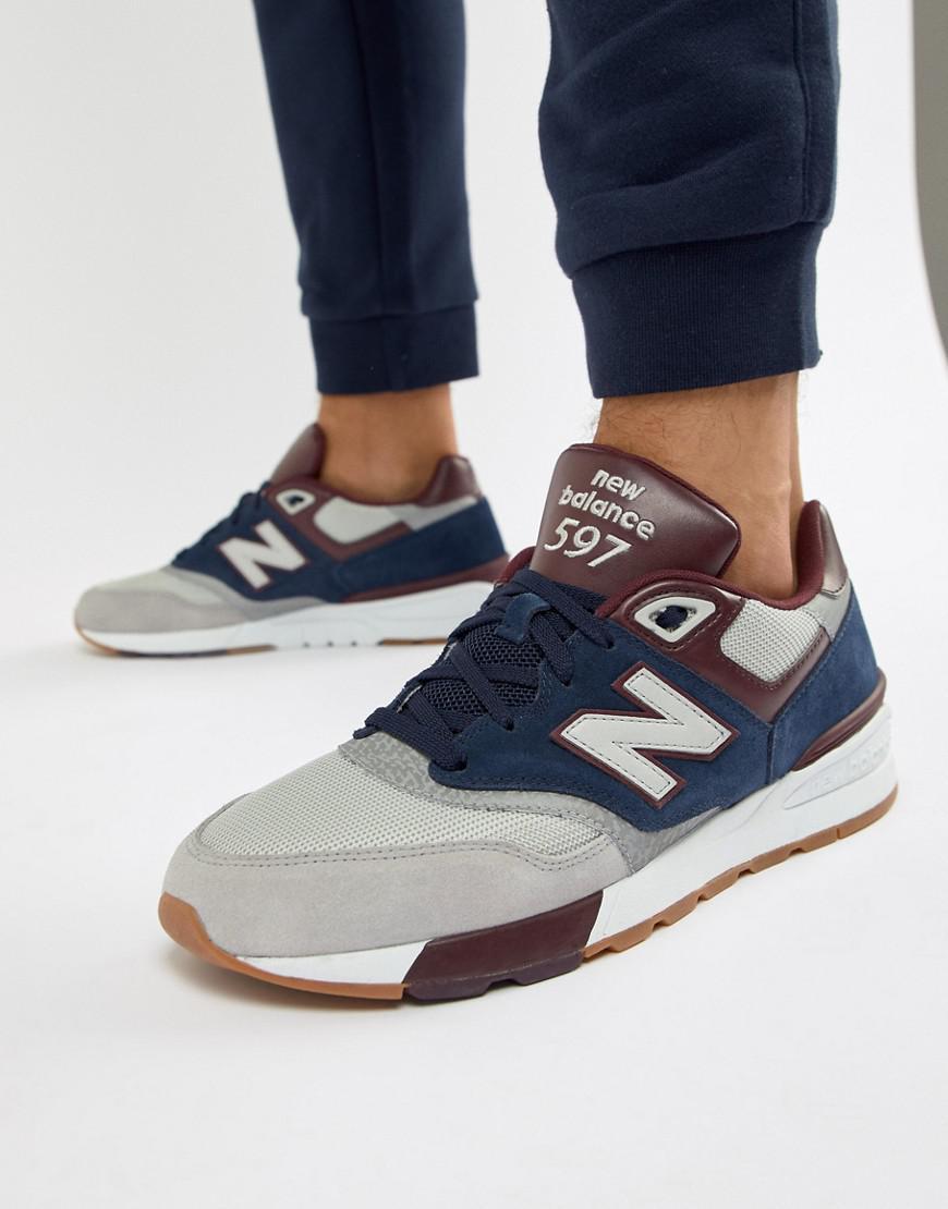 new balance 597 grey navy red
