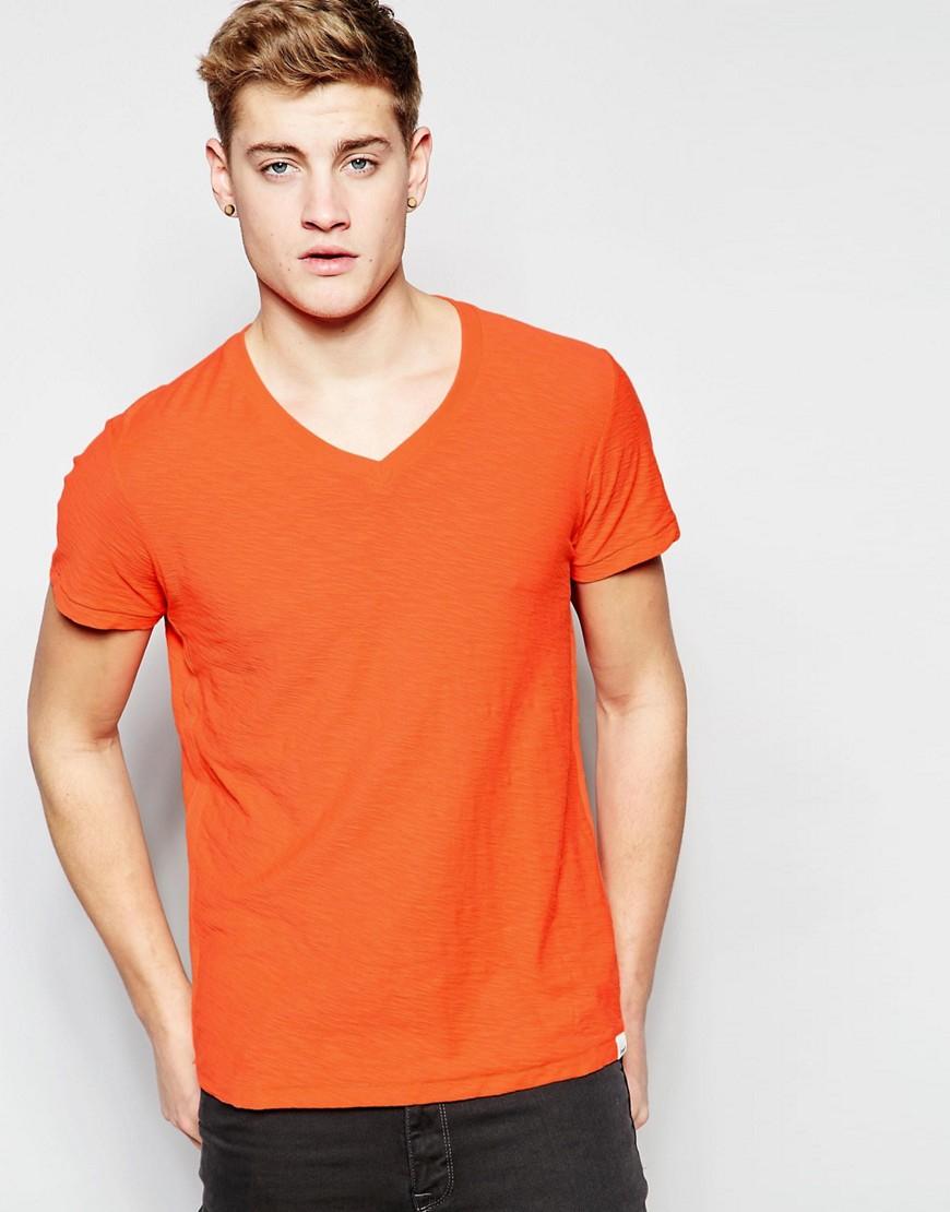Lee Jeans V Neck T Shirt In Orange For Men Lyst