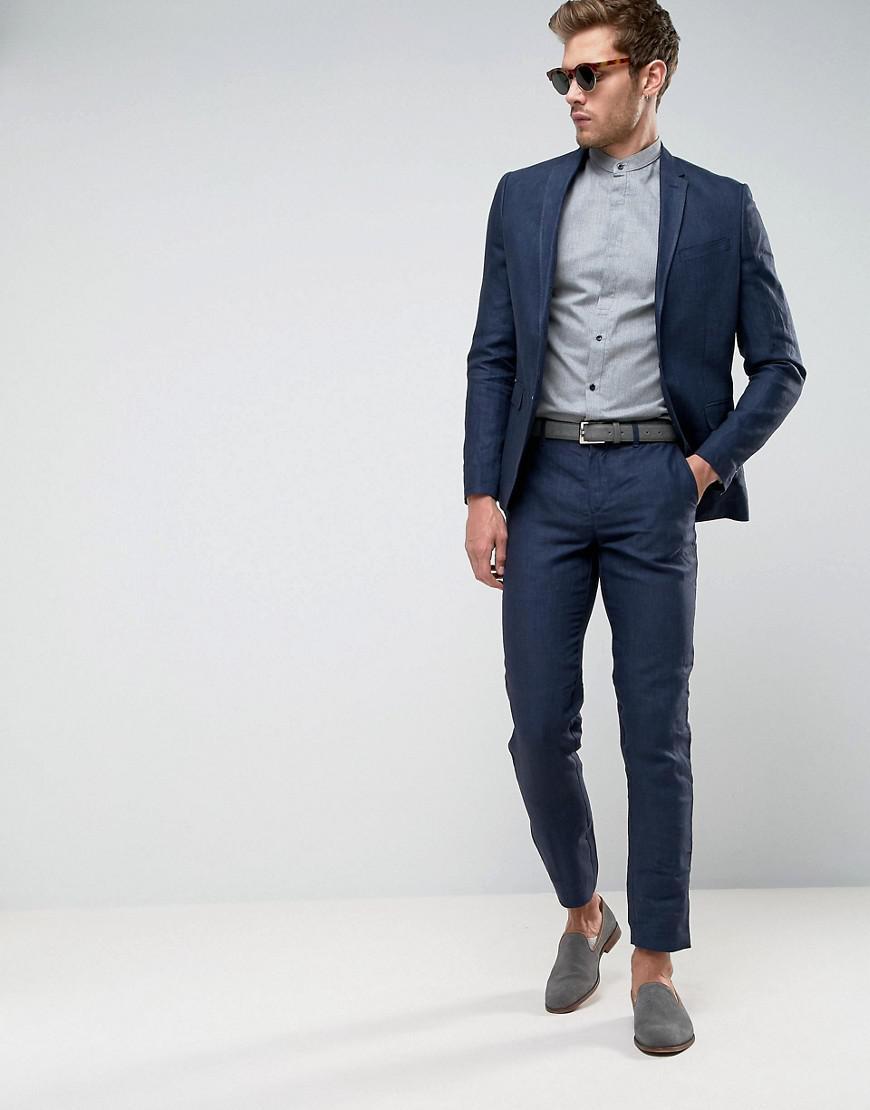 afa612df3b7f8c Lyst - Jack   Jones Premium Slim Suit Jacket In Linen in Blue for Men
