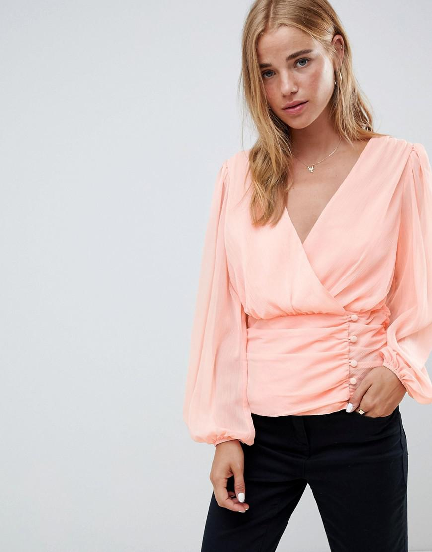 9942e2d650f43 ASOS Wrap Long Sleeve Top With Side Button Detail in Pink - Lyst