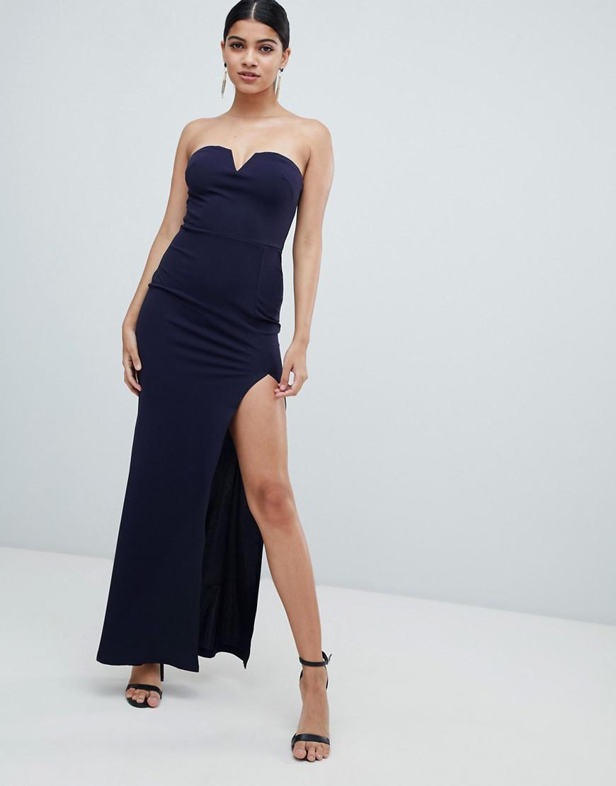 6e5ee43d99 Lyst - AX Paris Deep V Fishtail Maxi Dress in Blue