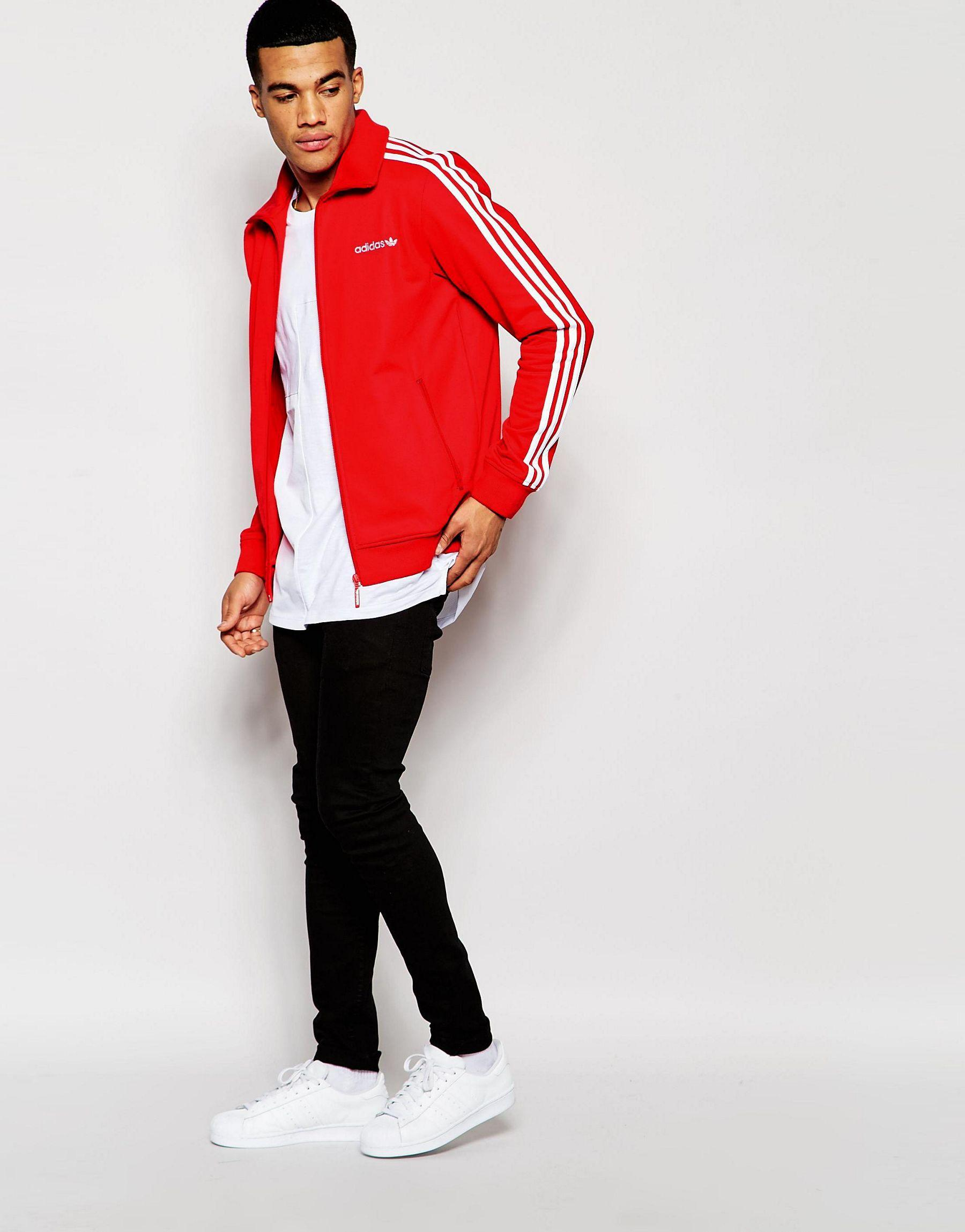 Lyst - adidas Originals Beckenbauer Track Jacket Aj6953 in Red for Men b87c06433