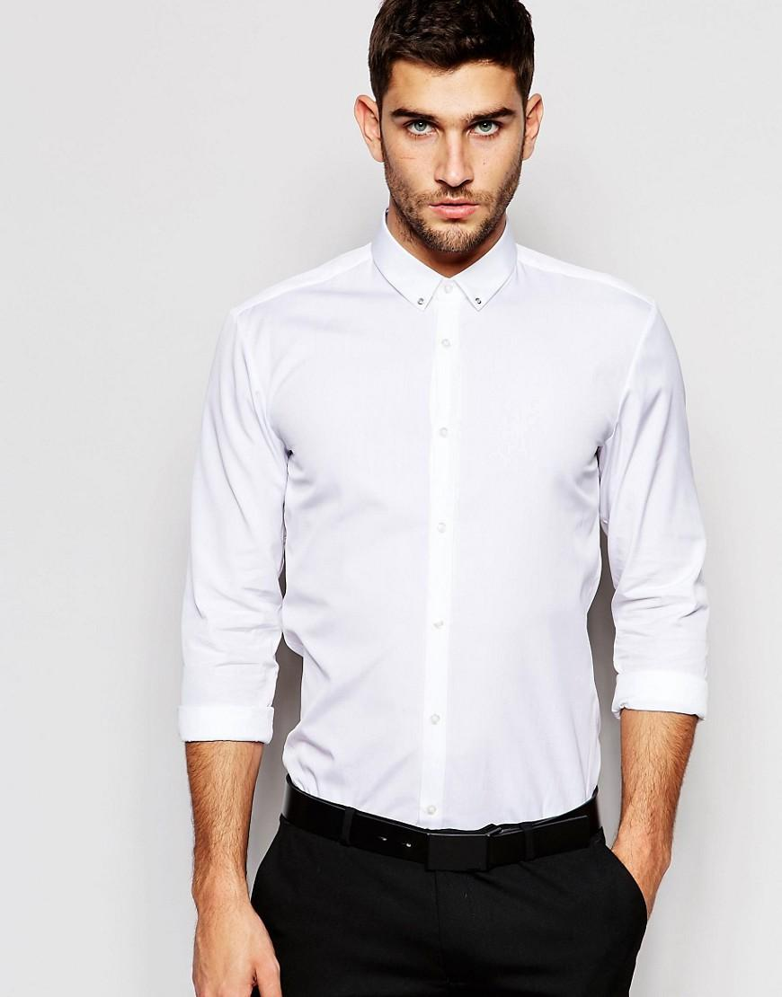 Hugo by boss smart shirt in slim stretch cotton and eyelet for Mens eyelet collar dress shirts