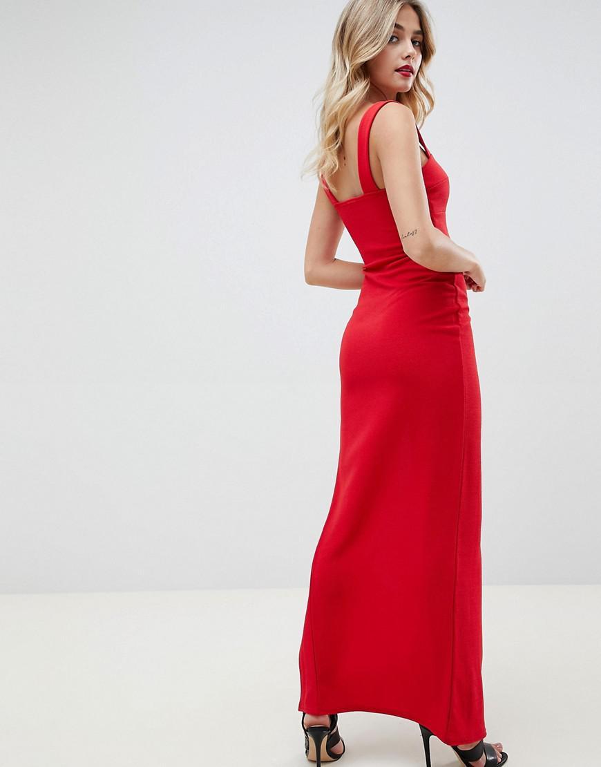 451b24e20ab40 Lyst - Boohoo Square Neck Split Leg Maxi Dress in Red