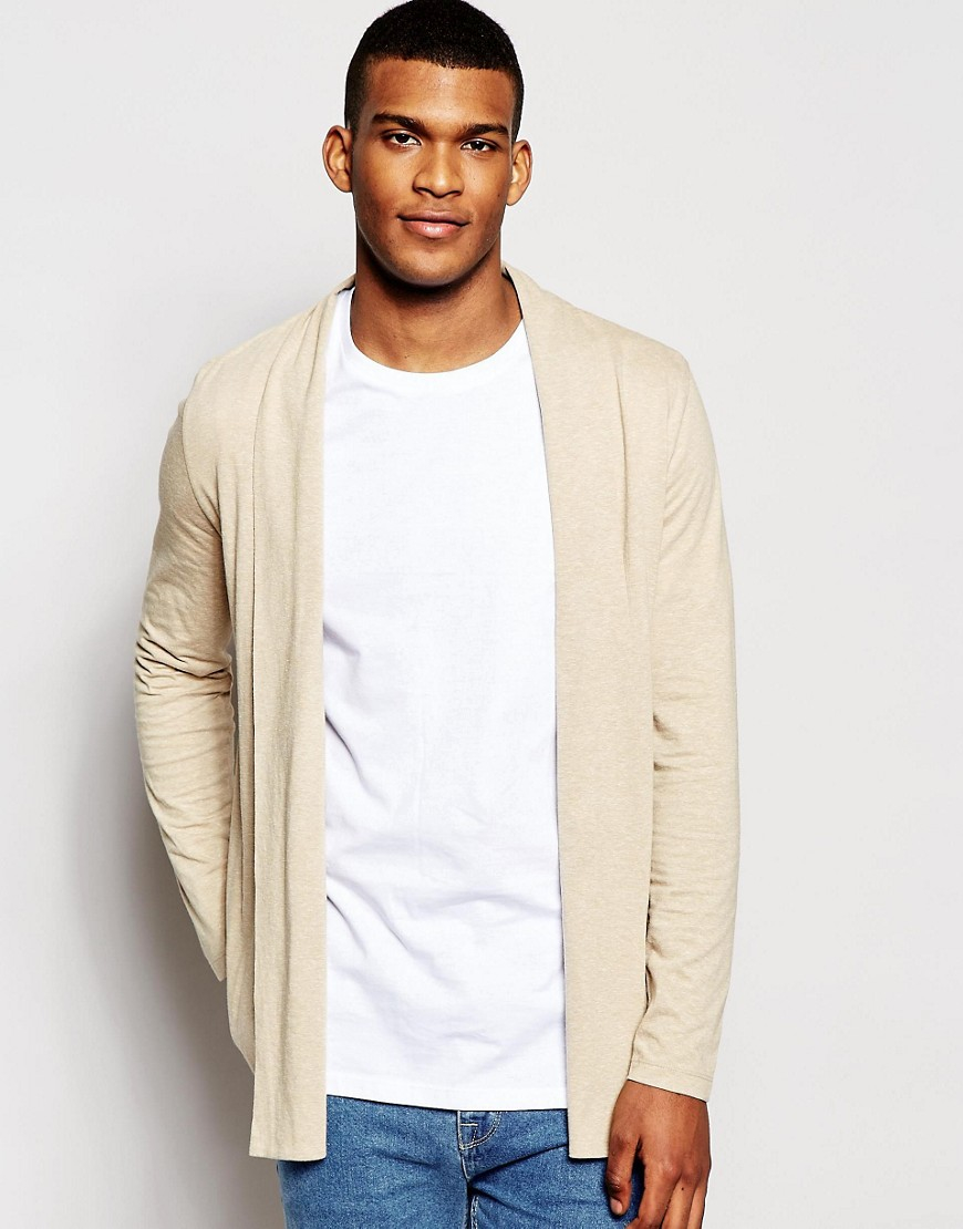 Asos Longline Jersey Waterfall Cardigan In Beige in Natural for ...