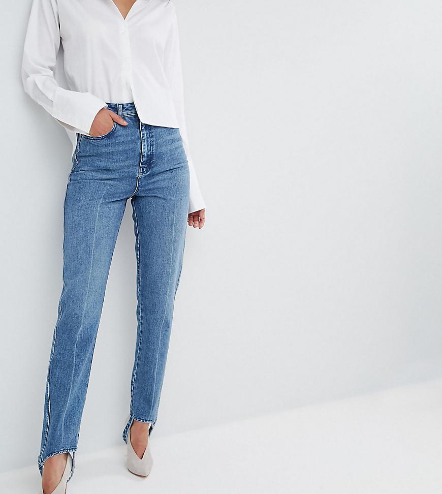 Deconstructed Straight Leg Jeans with Stirrup Hem - Midwash blue Asos SQ69kJHSA