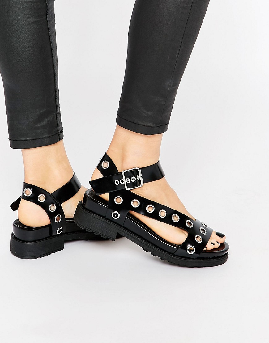 1a15e51221be Lyst - ASOS Forefront Chunky Flat Sandals - Black in Black