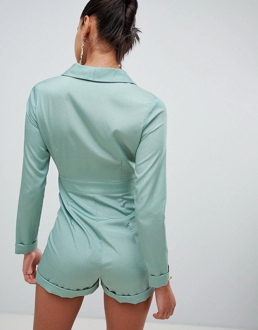 2d3421ef3d8a PRETTYLITTLETHING - Green Tux Button Detail Playsuit - Lyst. View fullscreen