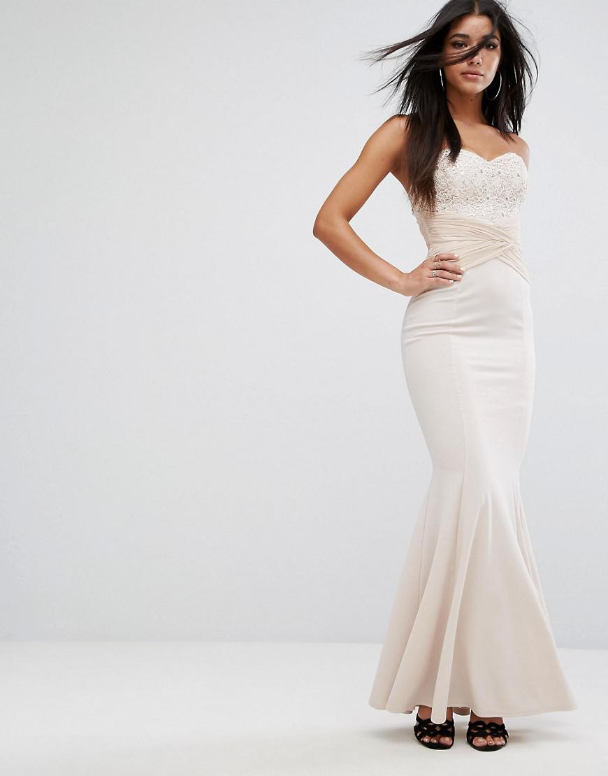 f7349cf28d4a5 Lipsy Bandeau Maxi Dress With Sequin Lace And Gathered Waist in Pink ...