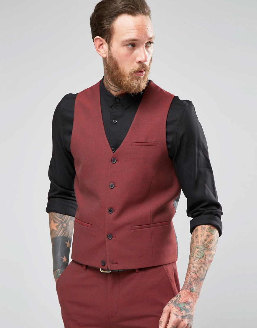 asos super skinny waistcoat in dark red in red for men lyst