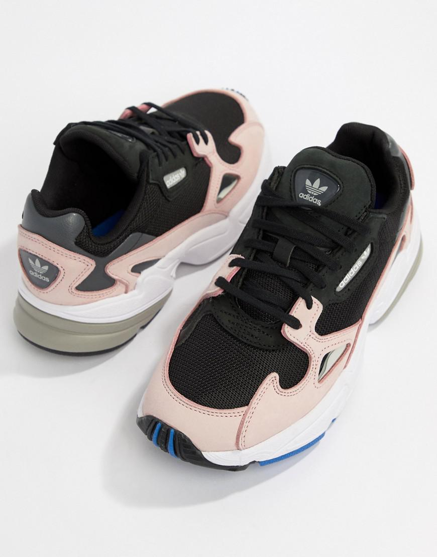 pretty nice d34cc b8f2b Lyst - adidas Originals Falcon Sneaker In Black And Pink in