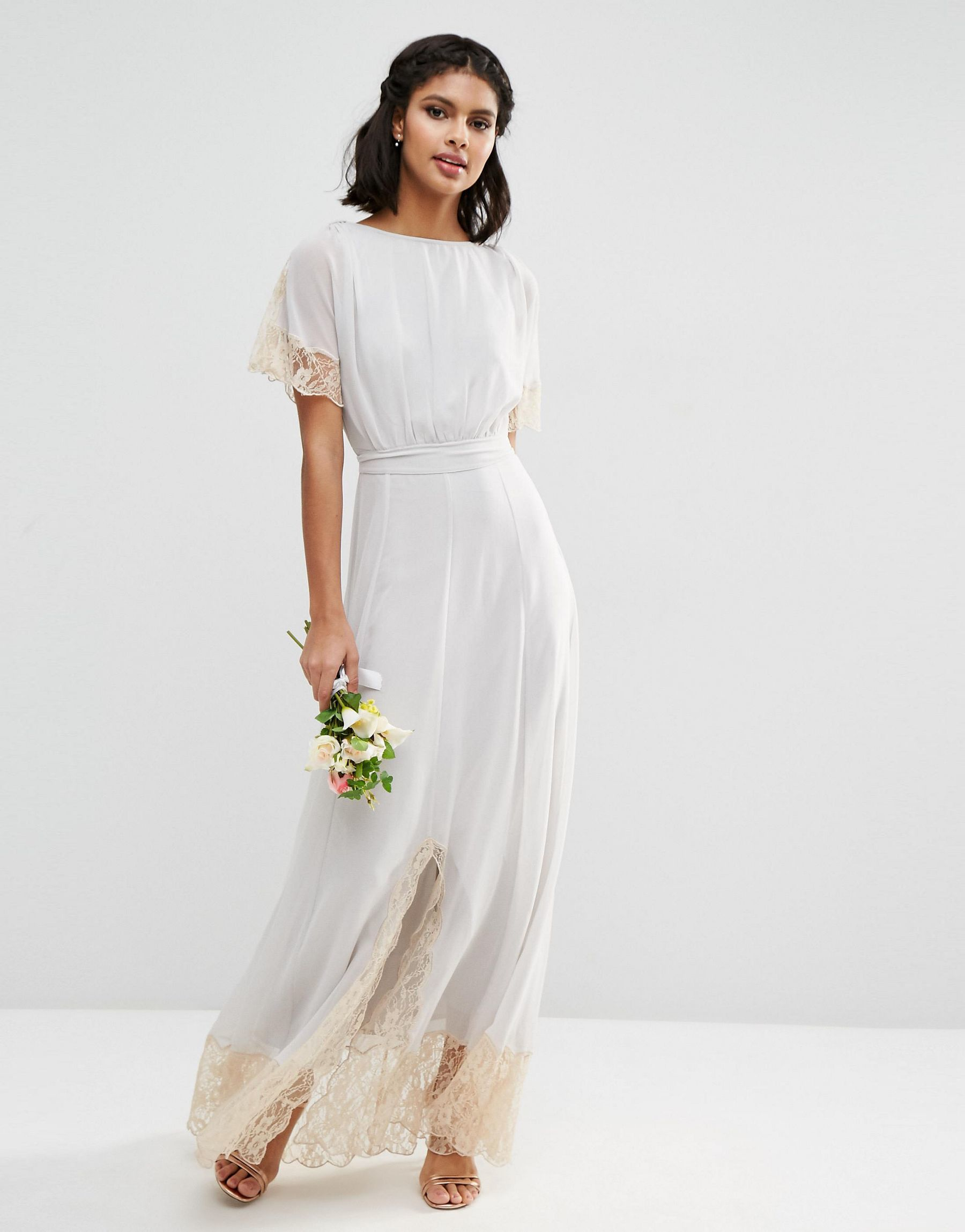 Asos wedding lace trim maxi dress in white lyst for Lace maxi wedding dress