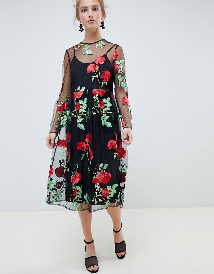 5b48b7889f45 ASOS. Women s Premium Mesh Embroidered Midi Smock Dress With Long Sleeves