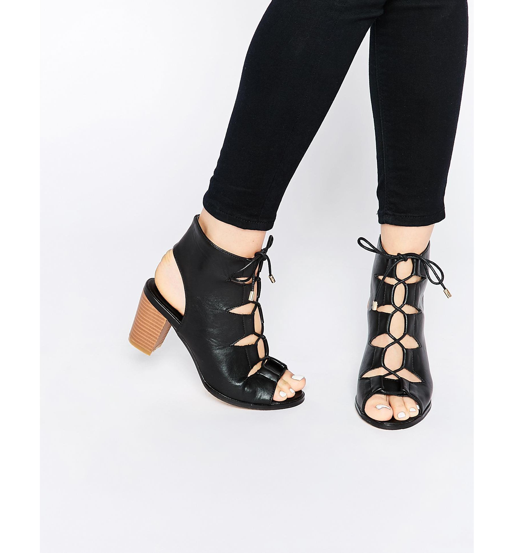 fe669ffff30e Lyst - Oasis Asis Lace Up Block Heeled Sandal in Black