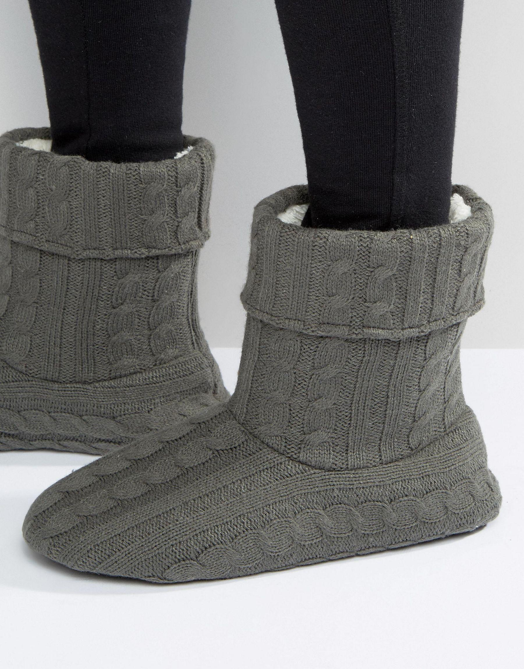 asos slipper boots in gray cable knit in gray lyst