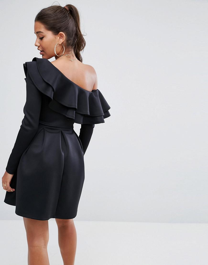 e0d0e068a66 ASOS Double Ruffle One Shoulder Mini Dress in Black - Lyst