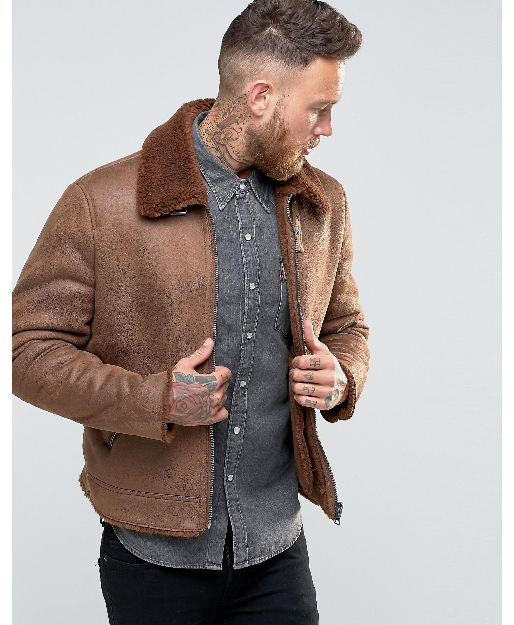 Asos Faux Shearling Jacket In Brown In Brown For Men