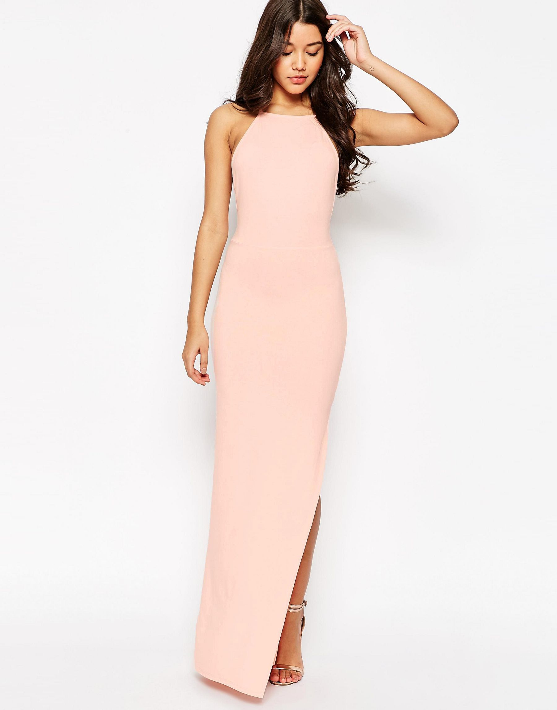 844c80bd211 Lyst - ASOS Halter Strappy Back Maxi Dress in Pink