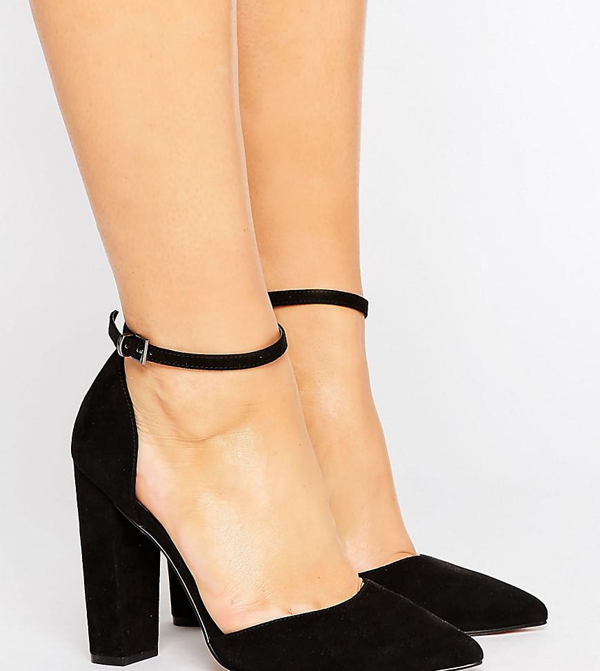 f95a61aa2a3b Lyst - ASOS Penalty Wide Fit Pointed Heels in Black