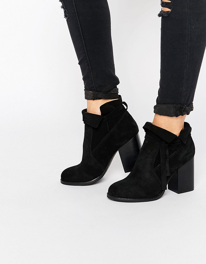 Asos Emma Suede Ankle Boots in Black