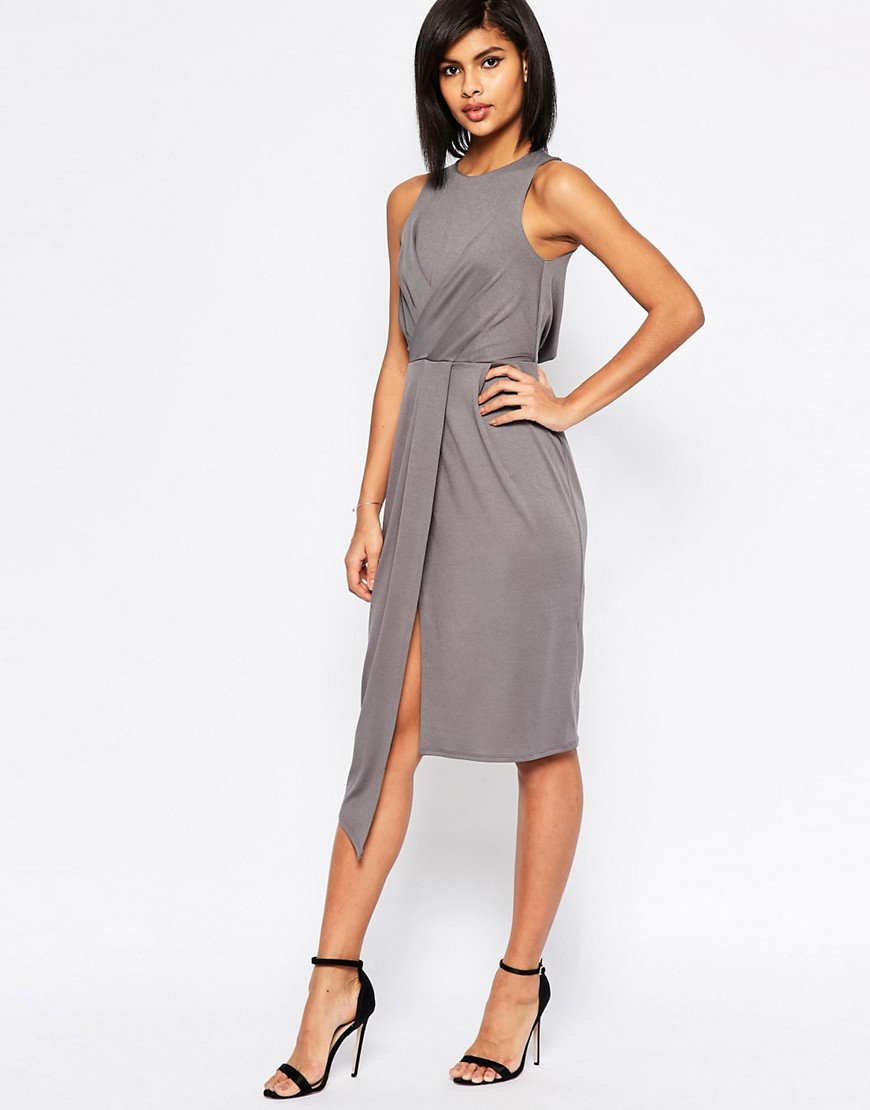 Asos sleeveless wrap drape midi pencil dress in gray lyst for Grey dress wedding guest