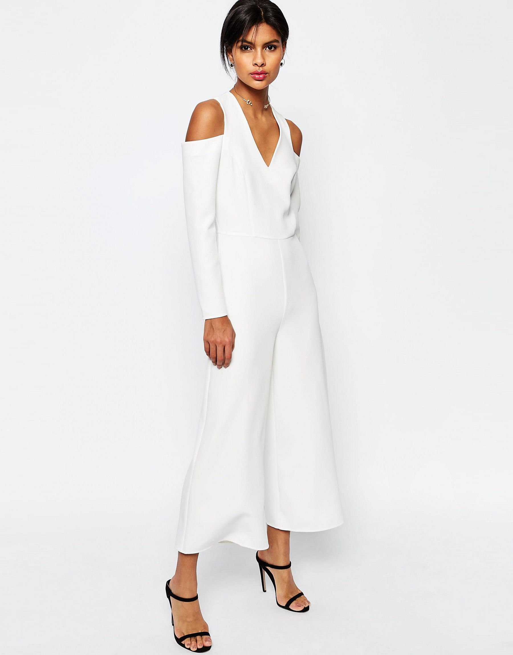 a9416820361 Asos Jumpsuit With Cut Out Shoulder in White