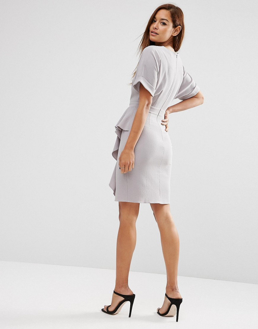 Lyst asos waterfall pencil dress in gray for Waterfall design dress