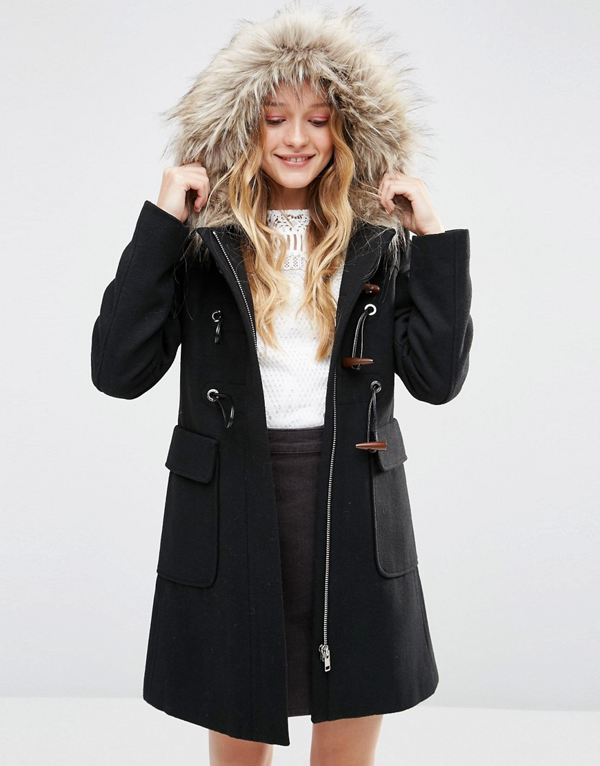 Asos Wool Blend Faux Fur Hooded Duffle Coat in Black | Lyst