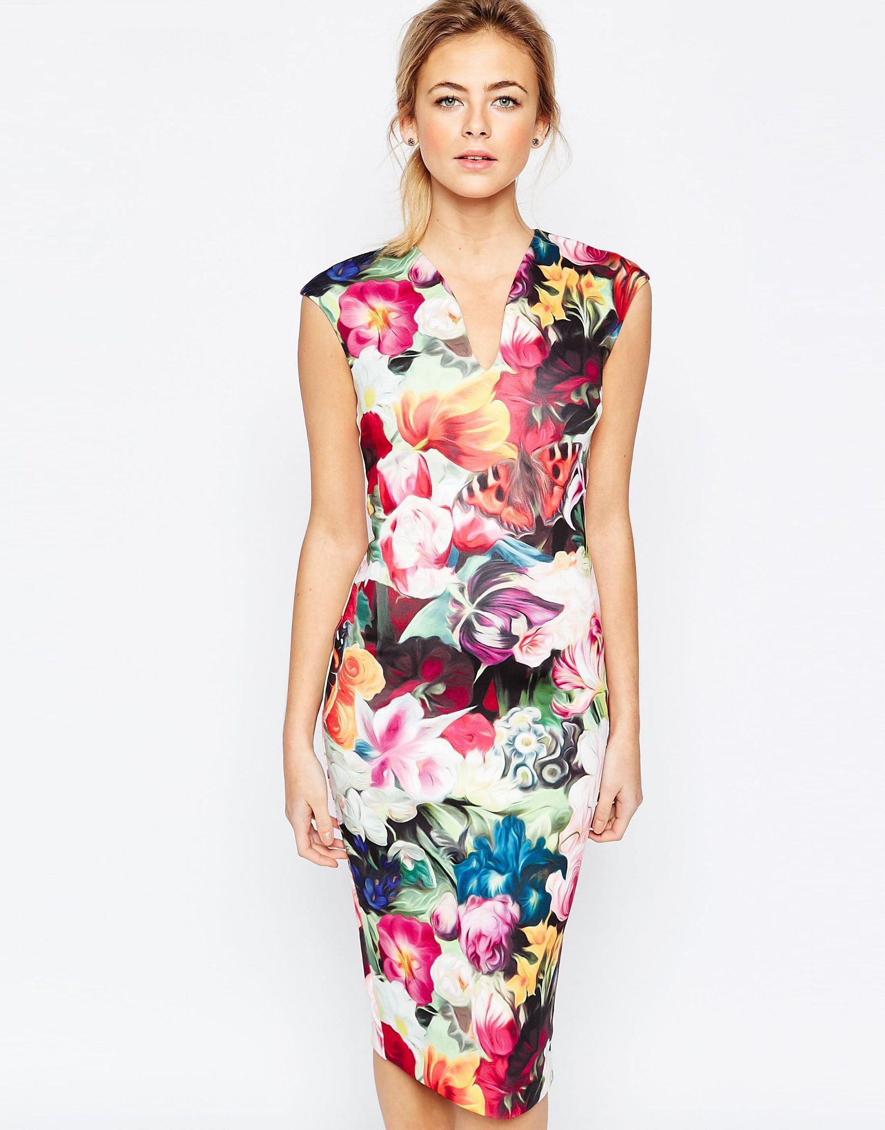 2da2c56f72ea9e Lyst - Ted Baker Floral Swirl Print Dress