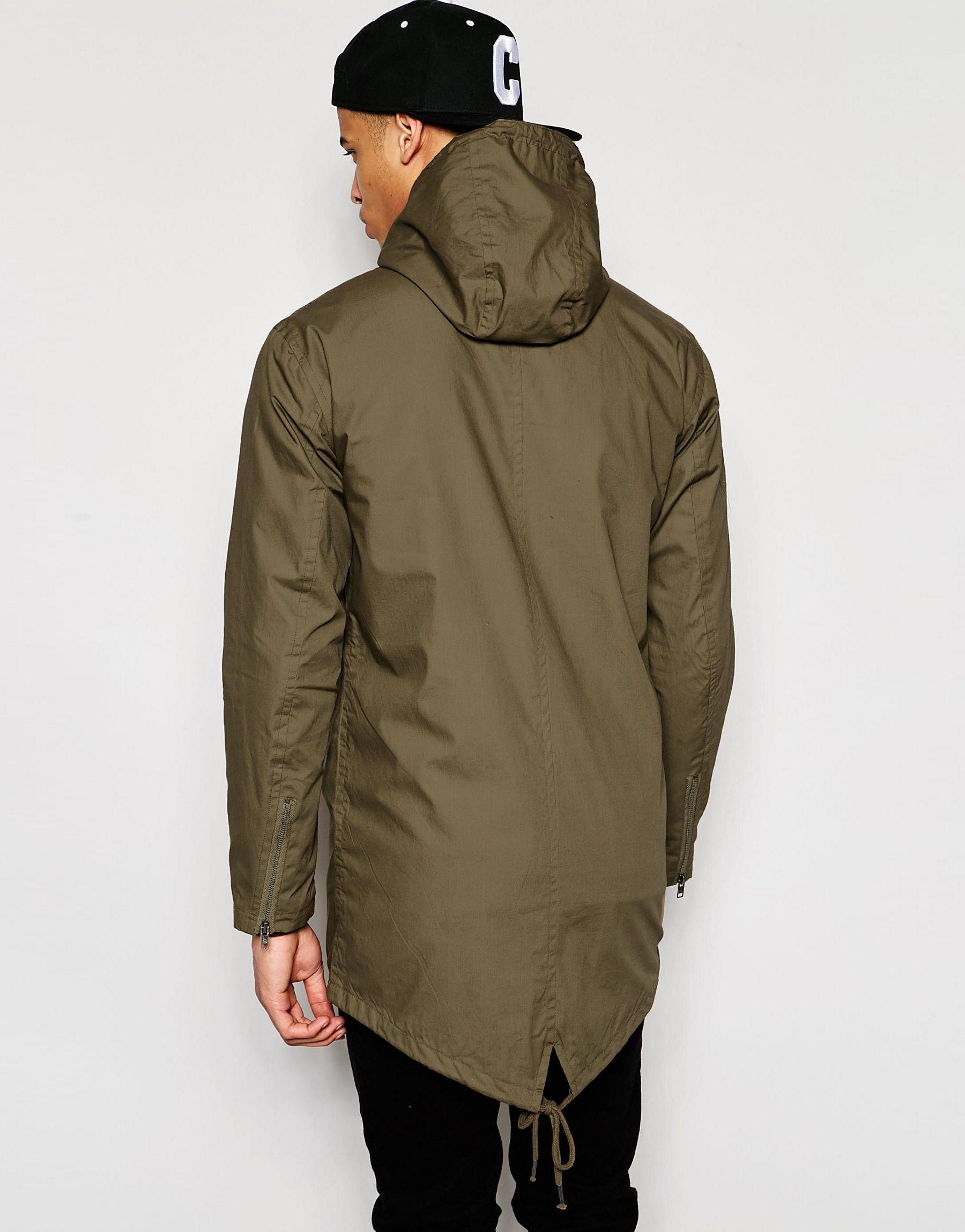 Pull bear parka jacket with hood in khaki in gray for men for Bear river workwear shirts
