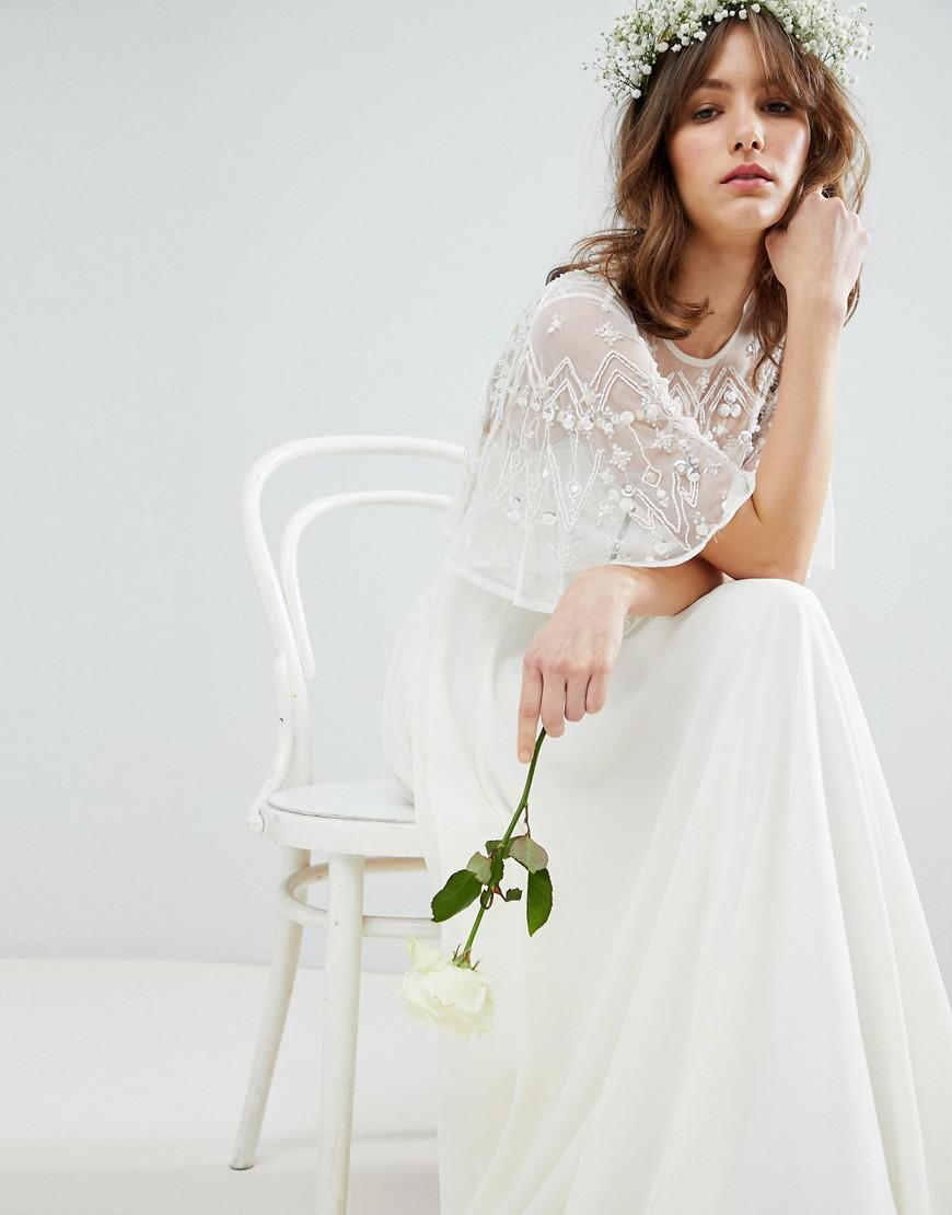 Lyst asos maxi wedding dress with embellished crop top for Crop top wedding dress