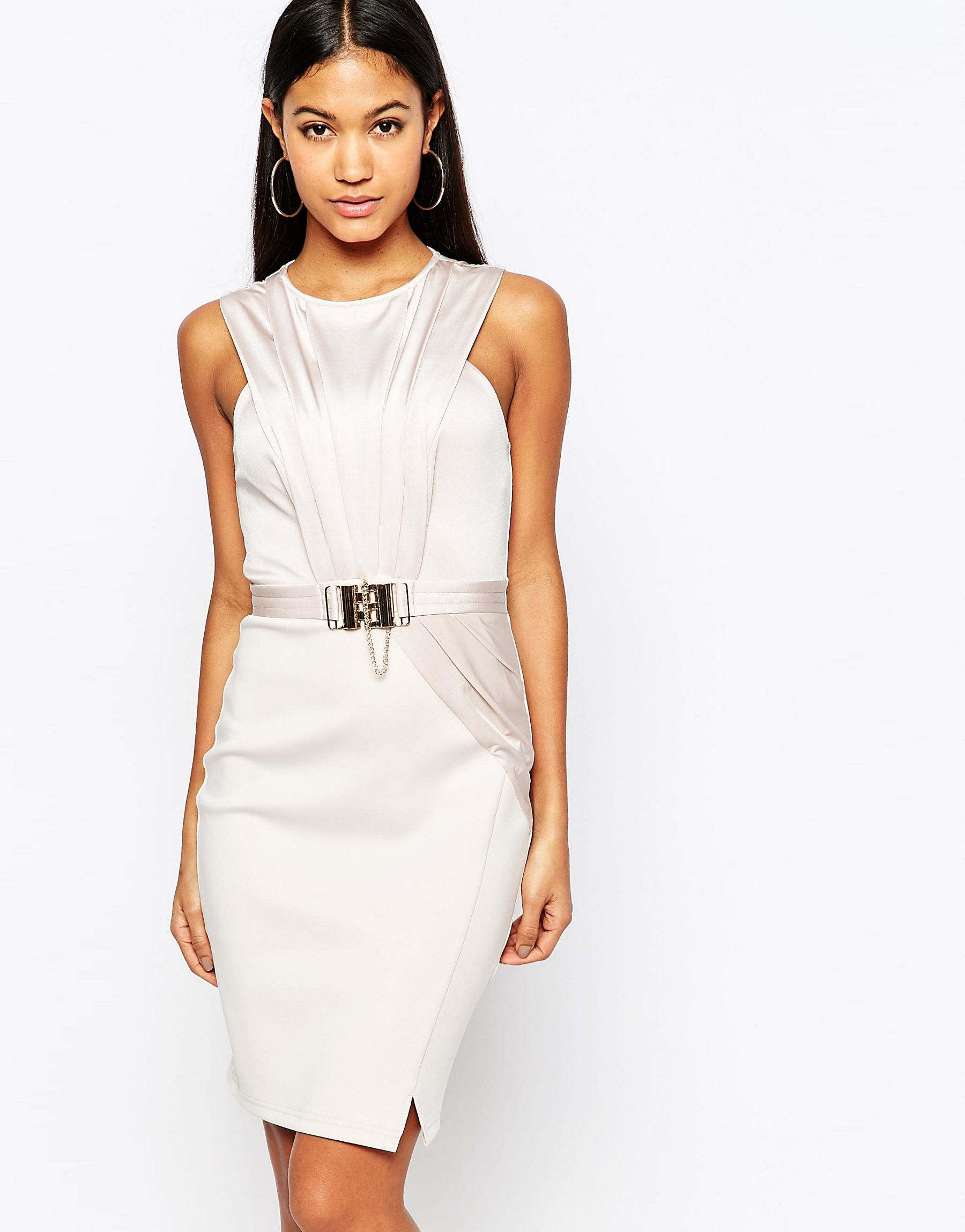 cb15c058c3c98 Lipsy Michelle Keegan Loves Wrap Front Pencil Dress With Chain Belt ...