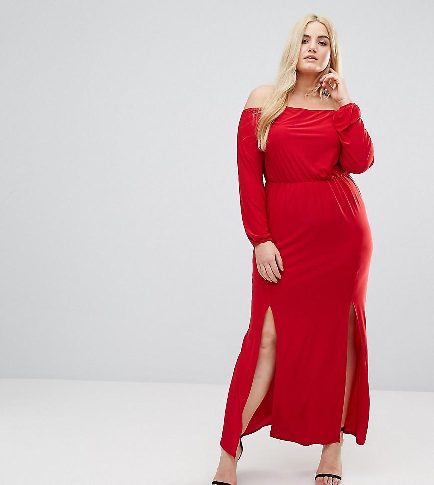 4d8da8e7384 Club L Plus Bardot Maxi Dress With Split in Red - Lyst